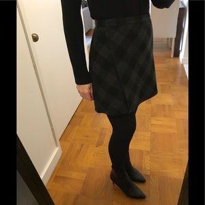 C. Wonder Gray & Black Plaid Reversible Wool Skirt